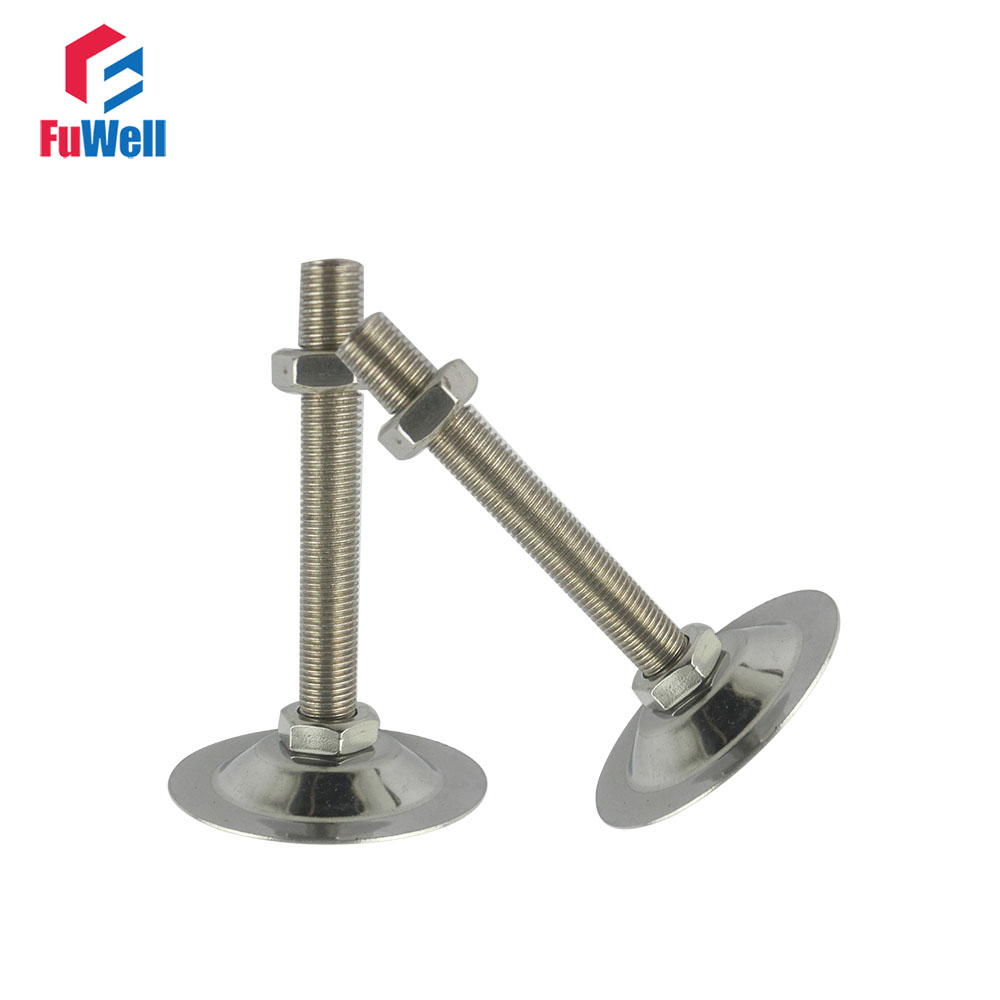 4pcs M8x60mm Thread Iron Galvanized Adjustable Foot Cup 47mm Base Diameter Leveling Foot for Furniture/Pipe Rack/Machine Tool thyssen parts leveling sensor yg 39g1k door zone switch leveling photoelectric sensors