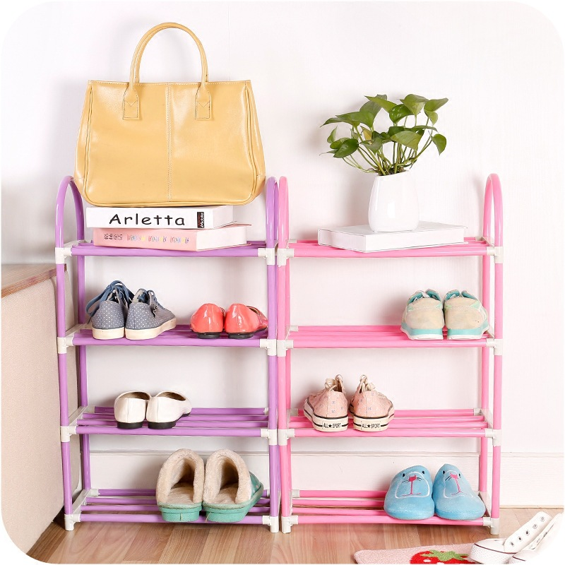 Thickened reinforced four-layer simple shoe rack disassembly combination multi-layer book storage rack assembly creative стоимость