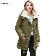 SWYIVY Womens Winter Coats Parkas Mid Long 2019 New Green Fur Inside Warm Coat Jackets For Women Outwear Design