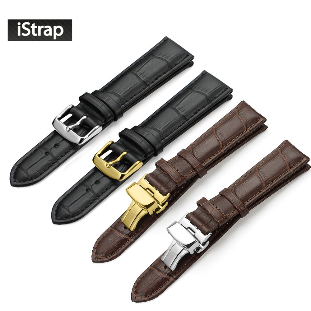 iStrap 18mm 19mm 20mm 21mm 22mm 24mm Black Watch Strap Genuine Leather Bracelet Brown Watch Band for Tissot Hours Watchband curved end genuine leather watchband for tissot 1853 watch band butterfly clasp strap wrist bracelet black brown 22mm 23mm 24mm