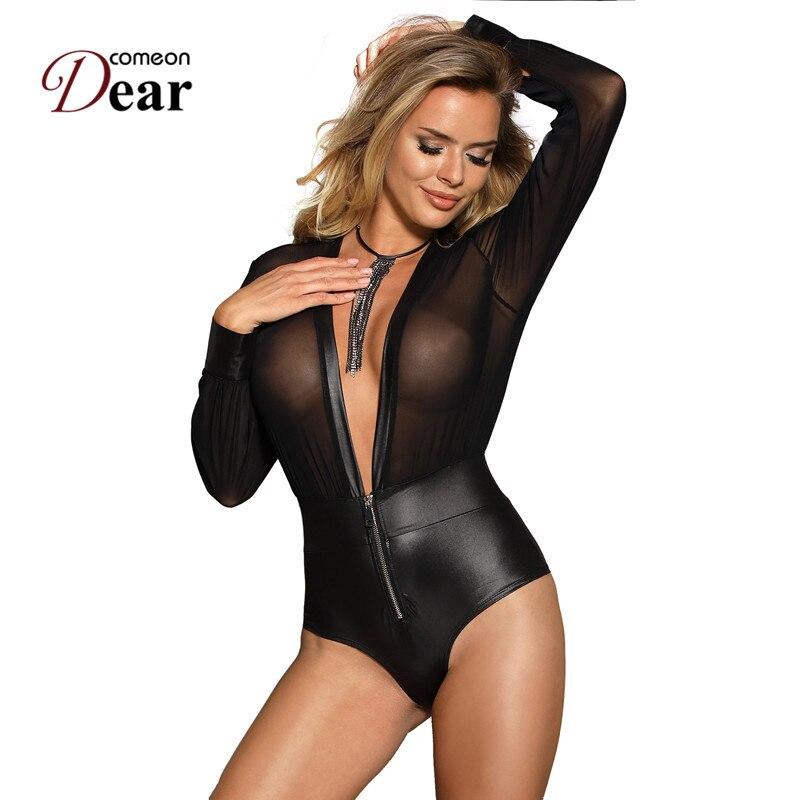 Comeondear Bodysuit Long Sleeve Woman Body Top Short Jumpsuit Black V-neck Zipper Faux Leather Black Rompers Womens RJ80594