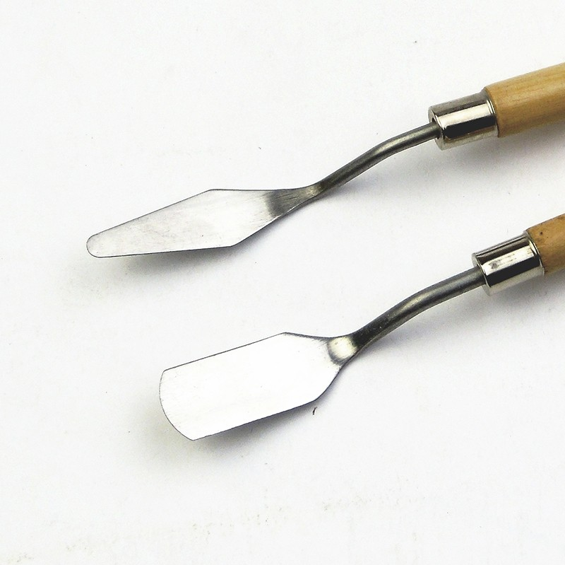 2Pcs/Set Palette Knife Set Stainless Steel Paint Mixing Scraper Art Oil Scraper Oil Painting Shovel Palette Baking Pastry Tool