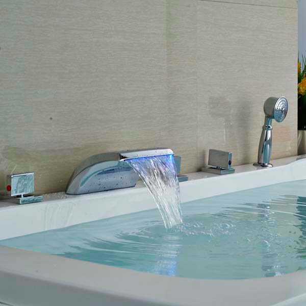 цена на Luxury Chrome Brass LED Waterfall Bathroom Sink Faucet Basin Faucet Mixer Tap