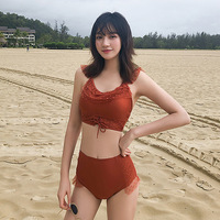 Swimwear For Surfing Bathing Suit Korea Swimsuits Women Summer 2019 Bikini Caramel Color Restoring Ancient Lace Push Up High