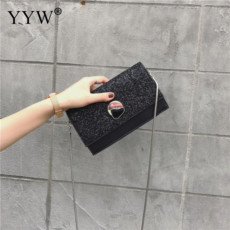 Черно белая сумка с блестками и цепочкой, женский модный маленький кошелек клатч, женские сумки через плечо, Подарочная Повседневная сумка