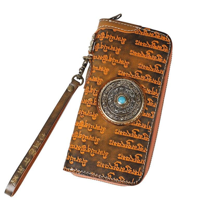 Frauen Nationalen Leder Brieftaschen Gemüse Tibetischen Männer Gegerbtem Brieftasche Handgemachte Stil Clutch Geldbörsen Schriften Schnitzen C7pqxwAdd1