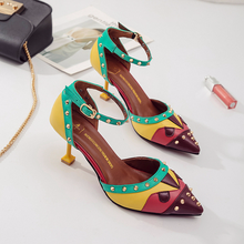 2019 new clear health women sandals with high heel and colo