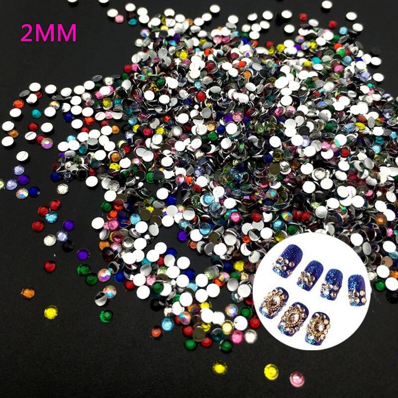 2 мм смешанный цвет 3D Nail Art Советы плоские сверла Стразы DIY ювелирные изделия 3D украшения для ногтей