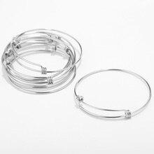 Bracelet en fil dacier inoxydable, Bracelet en fil ajustable, câble Bracelets porte bonheur extensible, accessoires pour femmes, cadeau bijoux à bricoler soi même, 30 pièces