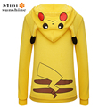 2016 Revestimento do Outono Mulheres Sólidos Hoodies Pullovers New Go Rosto Impressão Totoro Pikachu Pokemon Traje Cauda Zip Camisola Do Hoodie
