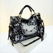 Luxus berühmte marke frauen weibliche pailletten taschen leder hallo kitty handtaschen schulter tote bolsos mujer de marca sac de marque