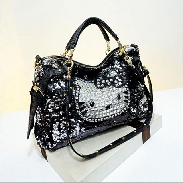 Luxury famous brand women female sequined bags leather hello kitty handbags  shoulder tote bolsos mujer de 9416aeb5b82cd