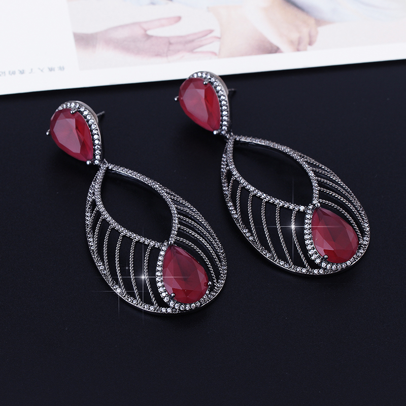 Brincos Women's Luxury Trendy Copper Peacock Feather Tribal Style Big Red Stone Pattern Dangle Drop Earrings For Party green peacock feather pattern hoop earrings