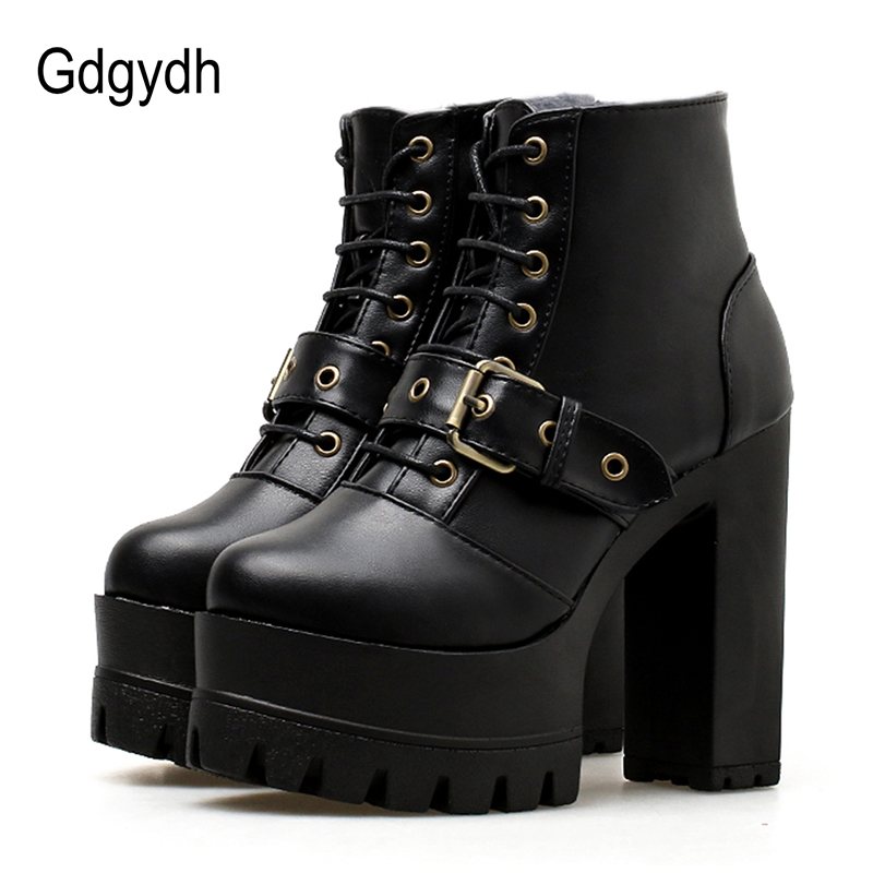 Gdgydh 2018 Autumn Platform Boots Women Ankle Boots Thick High Heels Casual Shoes Lacing Round Toe Buckle Ladies Boots Promotion gdgydh women platform heels ankle boots zipper high heels female booties shoes black round toe ladies shoes big size 2018 autumn