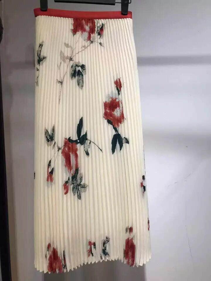 Marque de mode femmes haut de gamme de luxe été élégant contraste couleur fleur imprimé plissé longue jupe