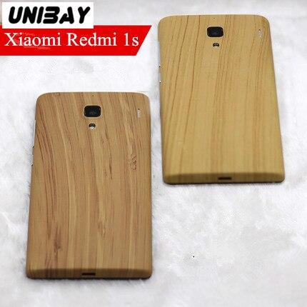 imágenes para Para Xiaomi Redmi 1 s reemplazo de la batería Contraportada Xiaomi arroz Rojo 1 s Madera De Plástico Color Del Caso Para Xiaomi hongmi redmi 1 s 1 s