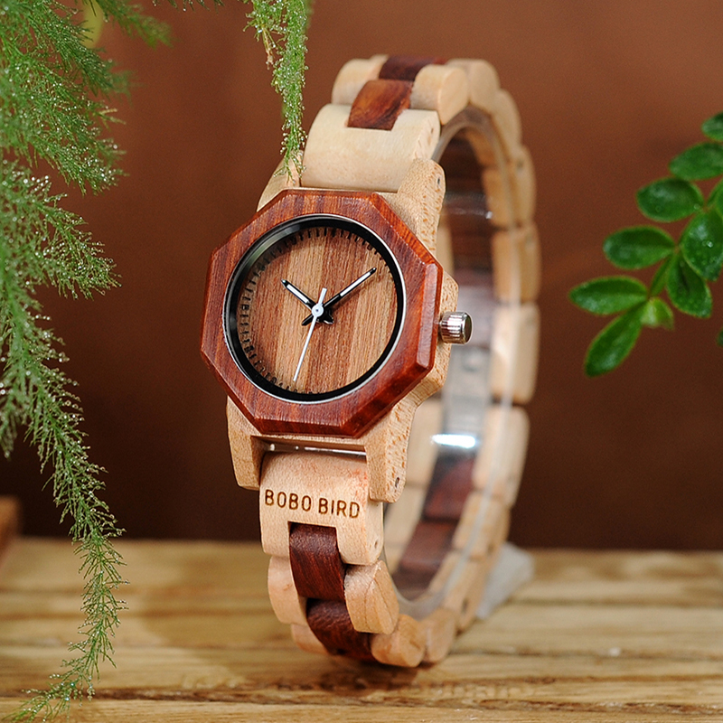 New Brand BOBO BIRD Women Watches Octagon Wooden Watch Ladies Bracelet Wristwatch Relogio Feminino B-M26