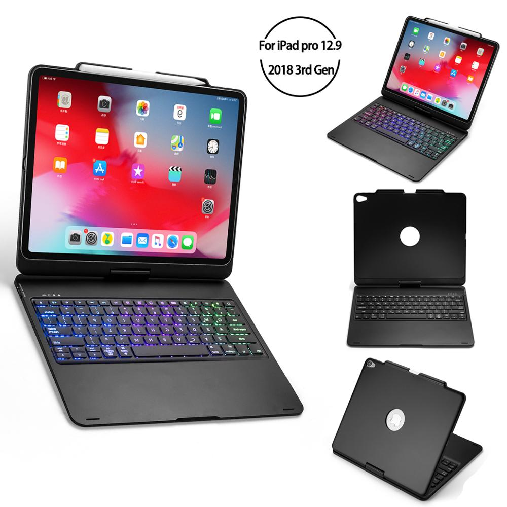 360 Degree Rotation for iPad Pro 2018 12 9 Inch Bluetooth Keyboard Case Folio Stand 7