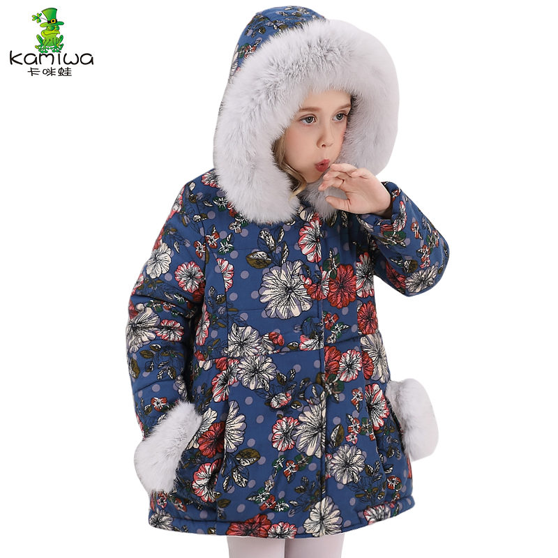 KAMIWA 2017  Baby Girls Winter Coats Cotton-padded Jackets Floral Thicken Brand Kids Clothes A Long Children's Clothing 2017 fashion boy winter down jackets children coats warm baby cotton parkas kids outerwears for