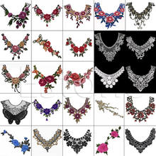 New Hot 1PC Embroidered Floral Lace Neckline Neck Collar Trim Clothes Sewing Applique(China)