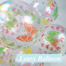 10pcs Fluorescence Printed Butterfly flower Latex Balloon With Transparent Inflatable Air Balls Christmas Wedding Decoration entrance decoration inflatable flower archway
