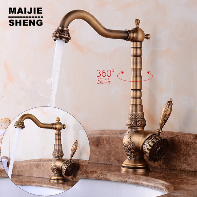 Antique brass bathroom faucet New flower antique basin faucet sink ...