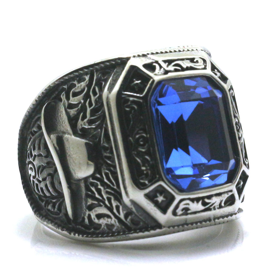Mens Boys 316L Stainless Cool Silver West Cowboy Blue Green Red Stone Newest Ring