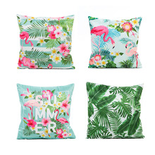 45x45cm Flamingo Green Leaf Cushion Pillow Case Home Decoration Birthday Wedding Summer Party  Baby Shower Decor