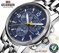 Relojes originales de los hombres guanqin zafiro mecánico automático de lujo del reloj de los hombres relojes deportivos a prueba de agua horas reloj de los hombres reloj de acero llena azul