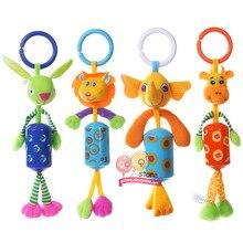 Cute Animal Plush Rattles Stroller Hanging Bell Mobiles Infant Baby Soft Crib Educational Toys for Newborn Children Gift Sozzy