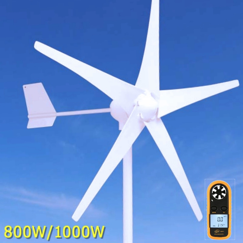 800W/1000W Wind Turbine Generator AC 24V/48V 5 or 3 Blade 900mm Low Wind Speed Windmill , with wind charge controller