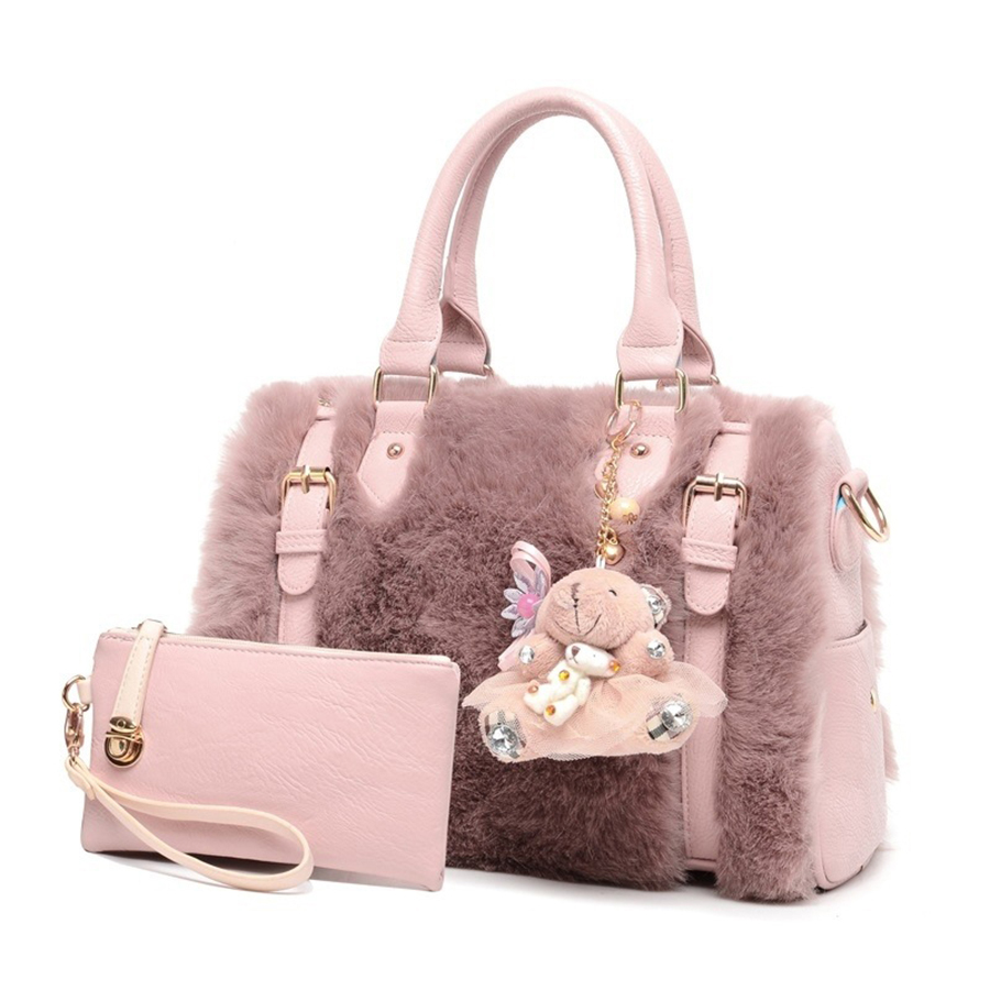 Winter Faux Fur Handbags Women Top Handle Bags Female Handbag Set Ladies Famous Brand 2017 Women