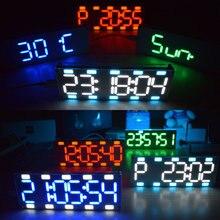 DIY 6 haneli LED büyük ekran iki renkli dijital tüp masaüstü saat kiti dokunmatik kontrol 6 renkler