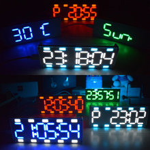 Diy 6 Digit Led Groot Scherm Twee Kleur Digitale Buis Desktop Klok Kit Touch Control 6 Kleuren