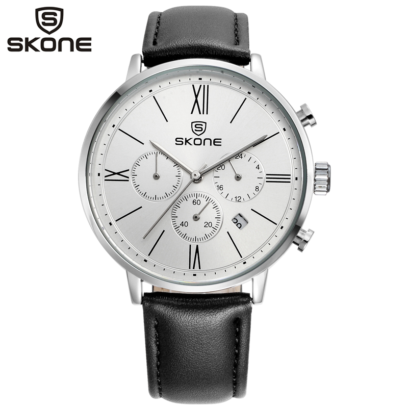 SKONE Man Watches CHRONOS Luxury Auto Date Wristwatch Mens Casual Leather Quartz Business Sport Watch Relogio Masculino 9456EG