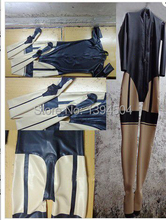 new design sex products women Latex spliced Fake two pieces Catsuit female maid Fetish Uniform Zentai Costumes customize size