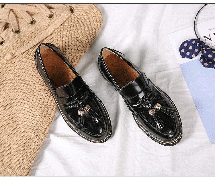Plat Glands Automne By494 rouge Femmes Style Angleterre En Cuir Vache Printemps Noir Chaussures Mocassins vanwxUCEq