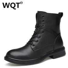 Chaussure Homme Fashion Genuine Leather Boots Men Warm Fur Winter Shoes Black Male Tooling Ankle Boots Plus Size 35-50