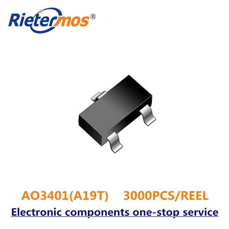 3000 PCS AO3401 AO3401A A19T SOT23 P Channel MADE IN CHINA-in Vervangende onderdelen en toebehoren van Consumentenelektronica op  Groep 1