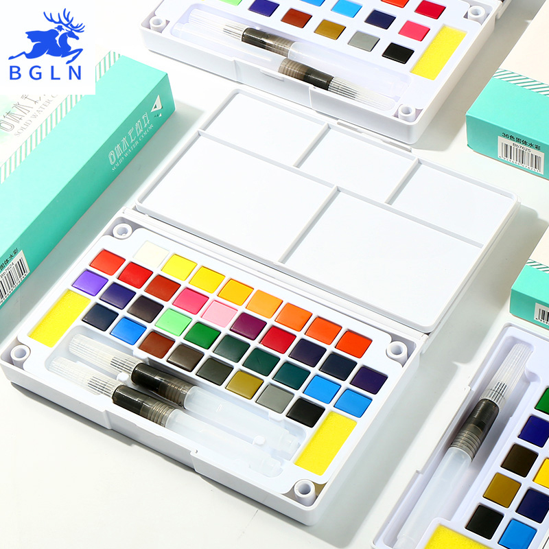 BGLN 18/24/36Colors Solid Watercolor Painting Set Box With Water brush Bright Color Portable Watercolor Pigment Set Art Supplies mungyo stationery set 12 24 48 color art solid watercolor painting pigment write iron box packaging
