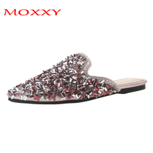 Luxury Women 2019 Mules Ladies Glitter Summer Slippers Women Shoes Low Heel Point Toe Flat Casual Shoes Woman chaussures femme