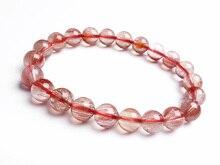 Natural Red Hair Rutilated Quartz Women Men Round Beads Bracelet 9mm Energy Stone Jewelry Love Gift Crsytal AAAAA