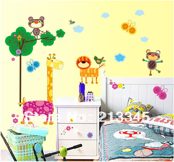 Fundecor] removable cartoon giraffe wall sticker children\'s room ...