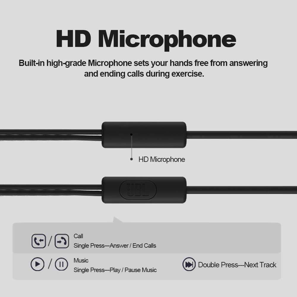 JBL C100Si Original 3.5mm Wired Stereo Earphones Deep Bass Music Earbuds Sports Headset Handsfree with Mic for iPhone Android
