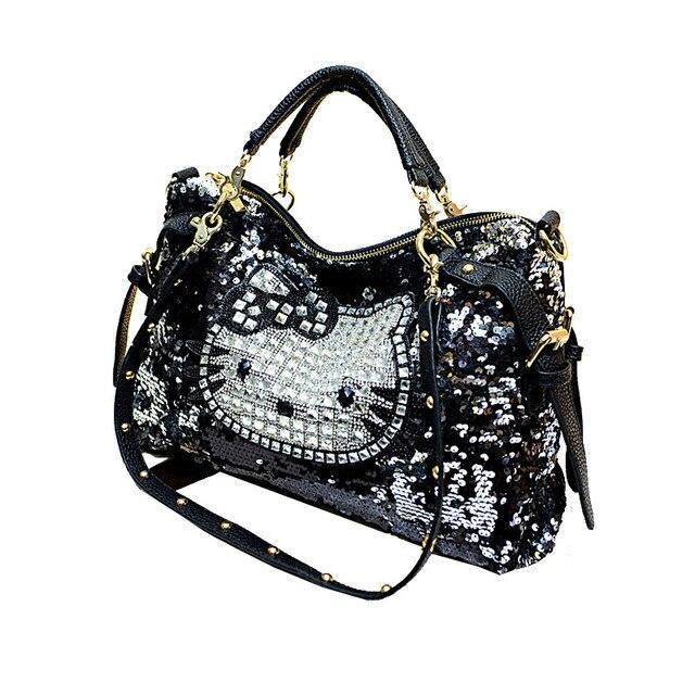 3ef997c44f Loodial marque sac à main bonjour kitty femmes épaule sac chat femelle grand  paillettes fourre-
