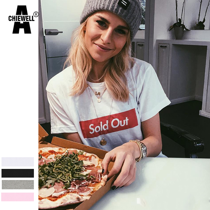 Achiewell Summer Women Funny T Shirt Sold Out Letter Short Sleeve White/Pink/Grey/Black BF Women T-Shirt Tops