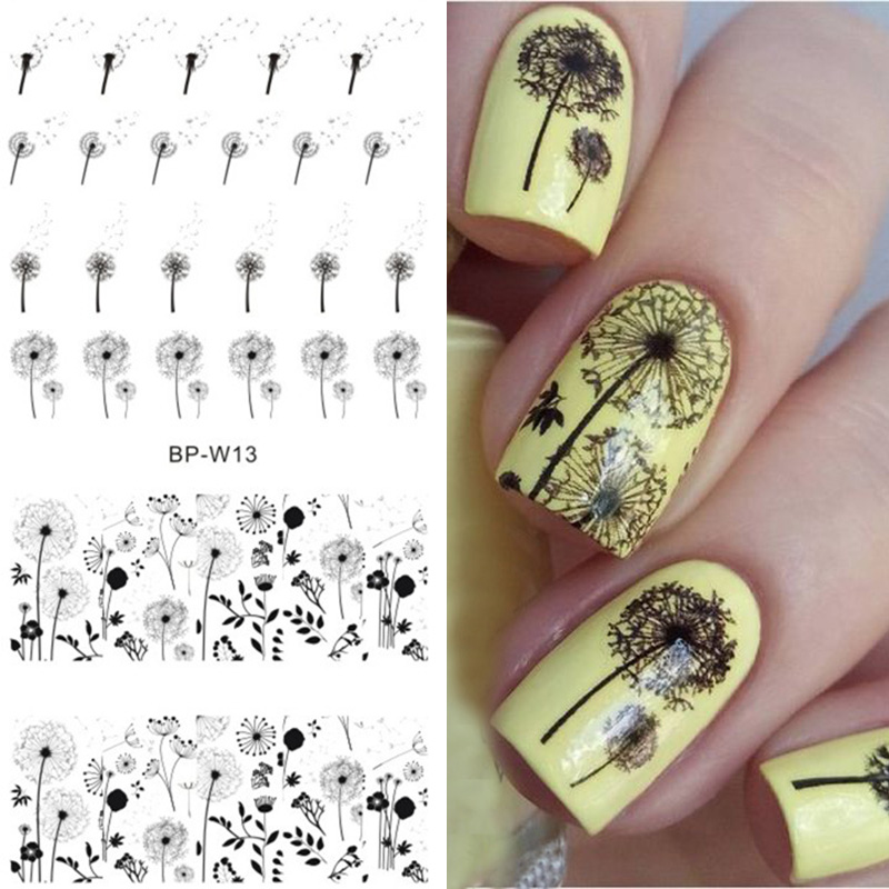 BORN PRETTY 2 Patterns Flying Dandelion Nail Art Water Decals Transfer Sticker Manicure Nail Decoration BP-W13 3157 p27 7w 1200lm led bulb car fog light tail driving lamp drl daytime running reverse 100w 6000k white 3030 20smd 12v 24v 3156