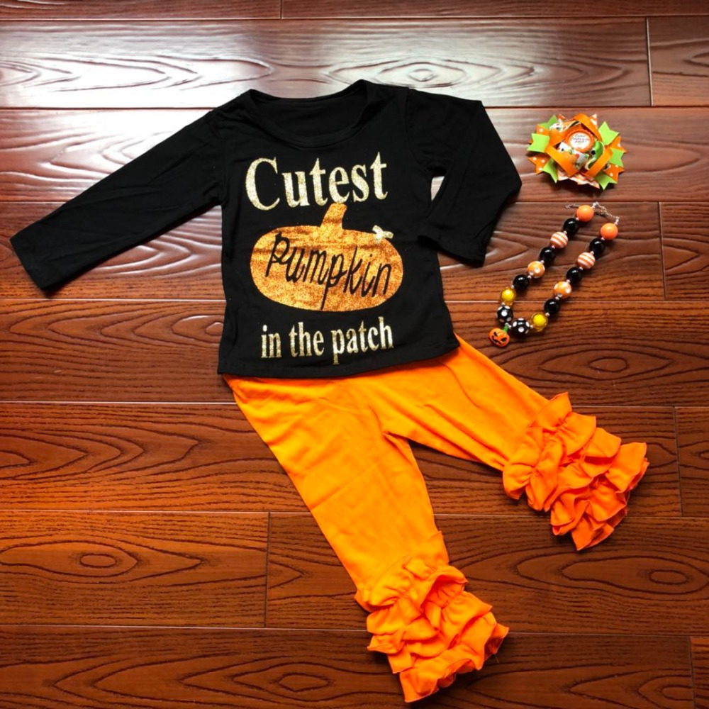 2018 new baby girls outfits halloween baby kids boutique baby girl kid halloween outfits pumpkin sets with matching necklace bow 2016 new arrival baby girls outfits halloween baby kids boutique baby girl halloween sets with necklace and headband leg warmers