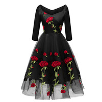 Ball Gown Party Dress with Sleeve Rose Embroidery V Neck Black Prom Dress Occasion Dresses for Prom Bridesmaid Wedding Cocktail