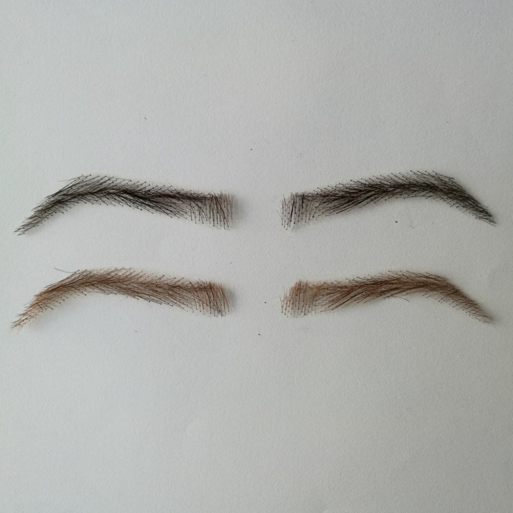 06 hand made human hair man false eyebrow invisible handmade fake eyebrows hand knot fake eyebrow eb013 invisible swiss lace relastic hand made human hair false eyebrow dark brown 2 color